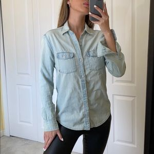 TNA Boyfriend fit denim button up